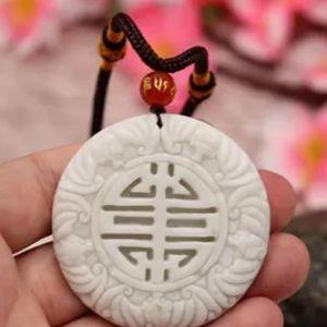 Natural Unisex GradeA Jade Necklace Amulet
